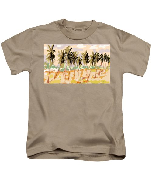 Monsoon At Field View - Kerala B Kids T-Shirt by Thecla Correya