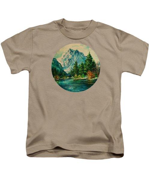 Mountain Lake Kids T-Shirt by Mary Wolf