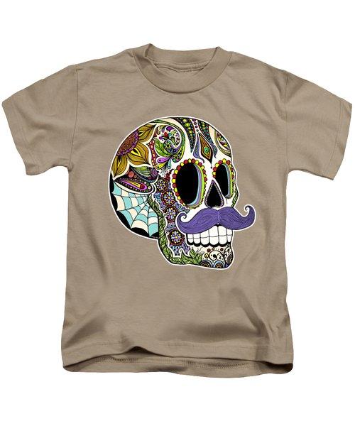 Mustache Sugar Skull Vintage Style Kids T-Shirt by Tammy Wetzel