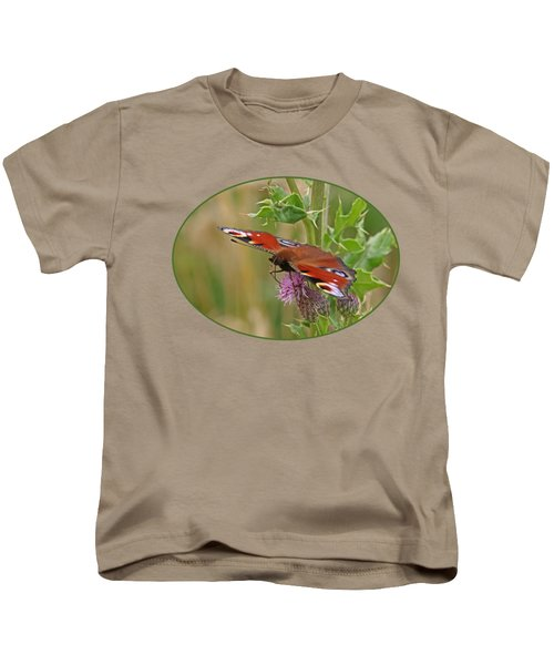 Peacock Butterfly On Thistle Kids T-Shirt by Gill Billington
