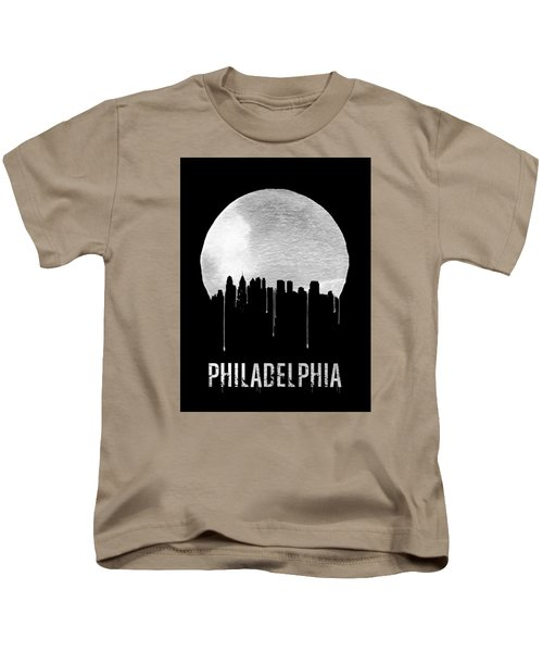 Philadelphia Skyline Black Kids T-Shirt by Naxart Studio