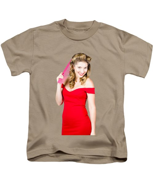 Pin-up Styled Fashion Model With Classic Hairstyle Kids T-Shirt by Jorgo Photography - Wall Art Gallery