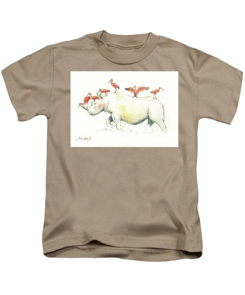 Rhino And Ibis Kids T-Shirt by Juan Bosco