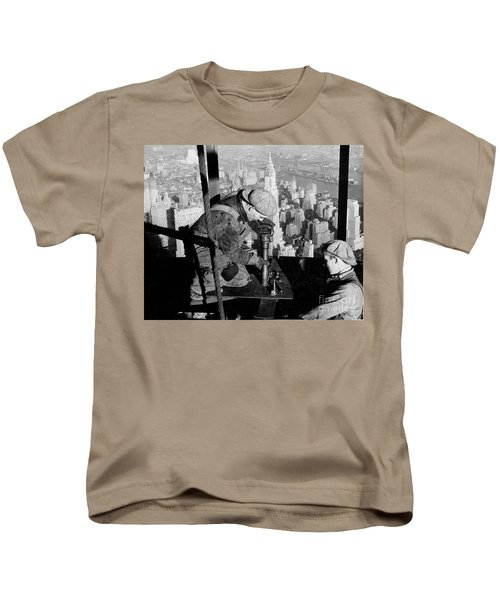 Riveters On The Empire State Building Kids T-Shirt by LW Hine