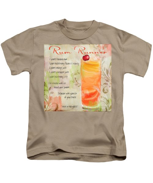 Rum Runner Mixed Cocktail Recipe Sign Kids T-Shirt by Mindy Sommers