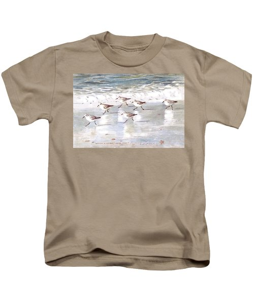 Sandpipers On Siesta Key Kids T-Shirt by Shawn McLoughlin