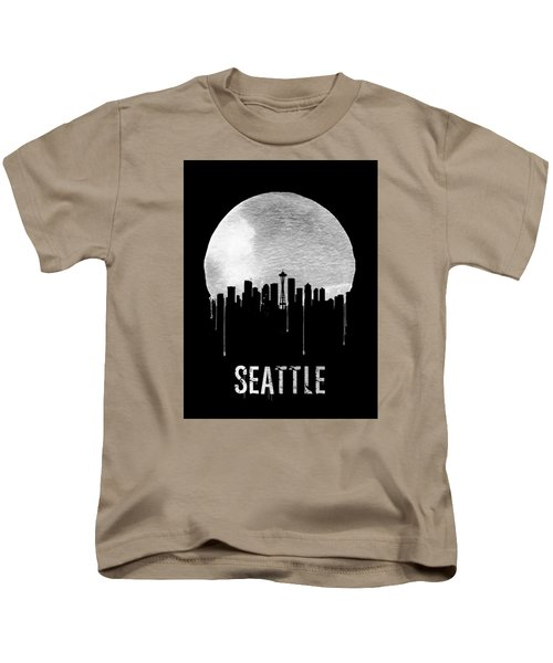 Seattle Skyline Black Kids T-Shirt by Naxart Studio
