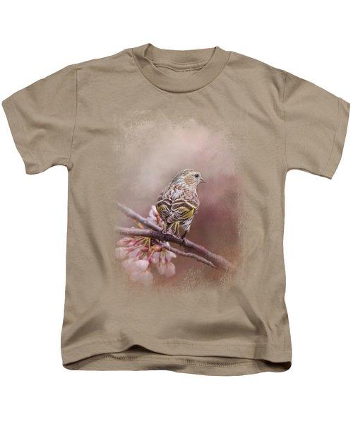 Siskin In The Garden Kids T-Shirt by Jai Johnson