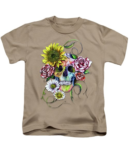Skull And Flowers Kids T-Shirt by Isabel Salvador