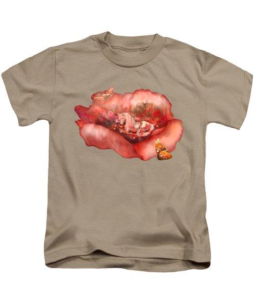 Unicorn Of The Poppies Kids T-Shirt by Carol Cavalaris