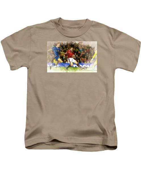 Wayne Rooney Of Manchester United Scores Kids T-Shirt by Don Kuing