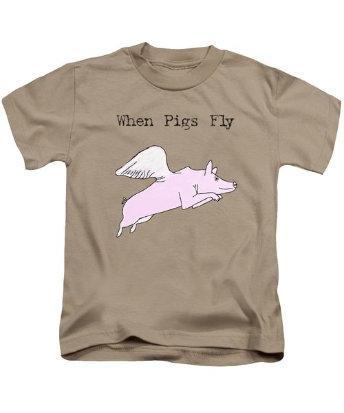 When Pigs Fly Kids T-Shirt by Priscilla Wolfe