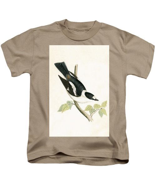 White Collared Flycatcher Kids T-Shirt by English School