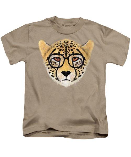 Wild Cheetah With Glasses  Kids T-Shirt by David Ardil