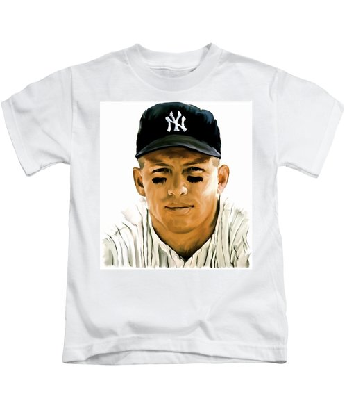 American Icon Mickey Mantle Kids T-Shirt by Iconic Images Art Gallery David Pucciarelli