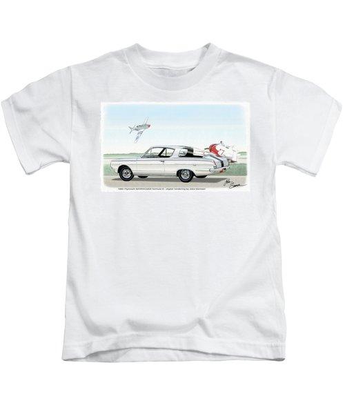 1965 Barracuda  Classic Plymouth Muscle Car Kids T-Shirt by John Samsen