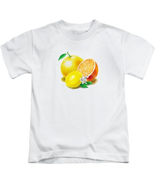 A Happy Citrus Bunch Grapefruit Lemon Orange Kids T-Shirt by Irina Sztukowski