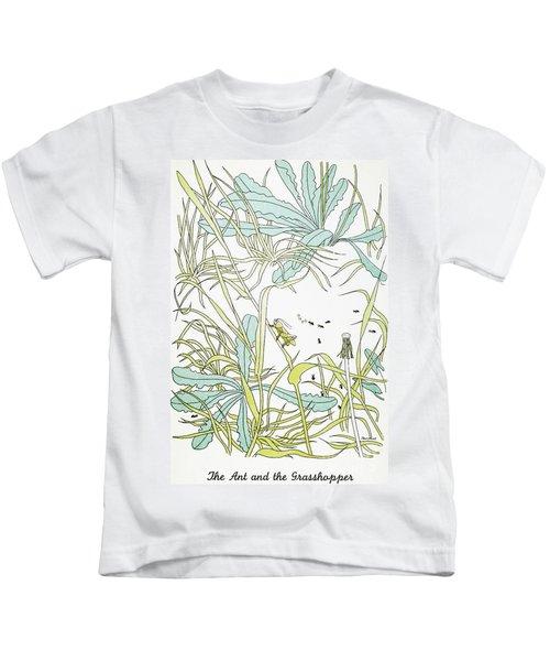 Aesop: Ant & Grasshopper Kids T-Shirt by Granger
