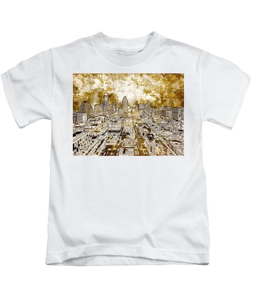 Austin Texas Abstract Panorama 6 Kids T-Shirt by Bekim Art