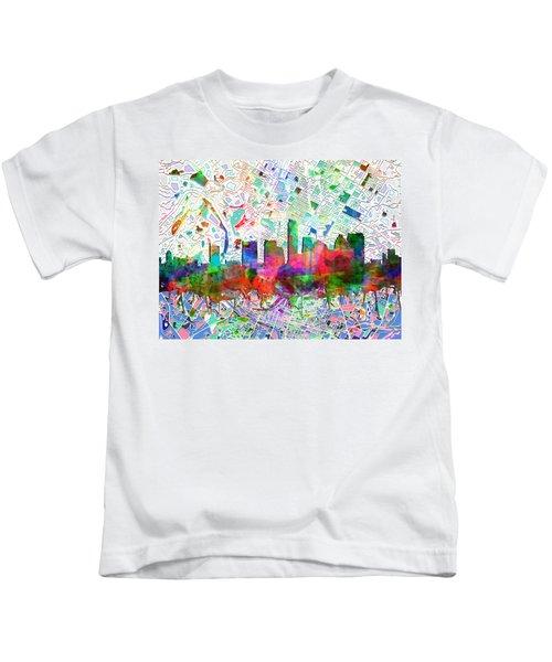 Austin Texas Abstract Panorama 7 Kids T-Shirt by Bekim Art