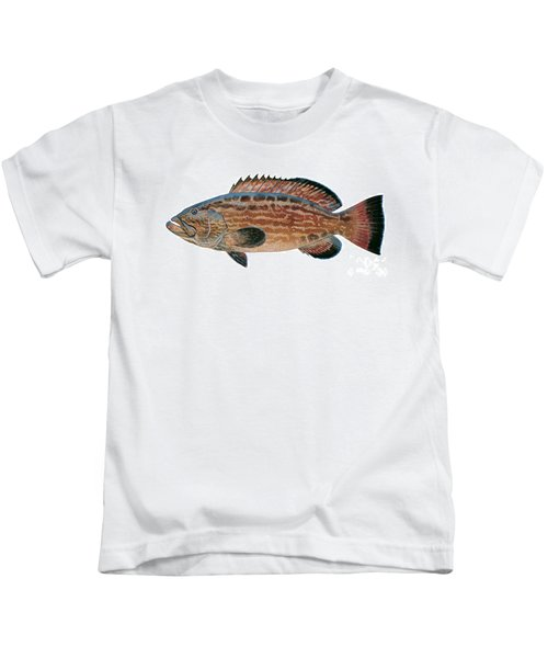 Black Grouper Kids T-Shirt by Carey Chen