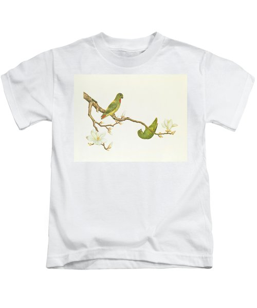 Blue Crowned Parakeet Hannging On A Magnolia Branch Kids T-Shirt by Chinese School