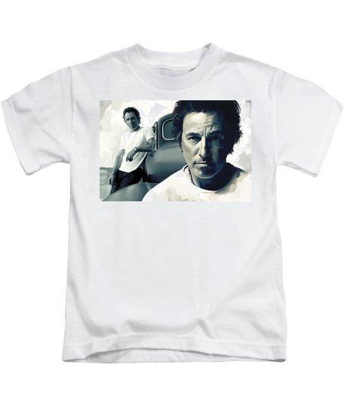 Bruce Springsteen The Boss Artwork 1 Kids T-Shirt by Sheraz A