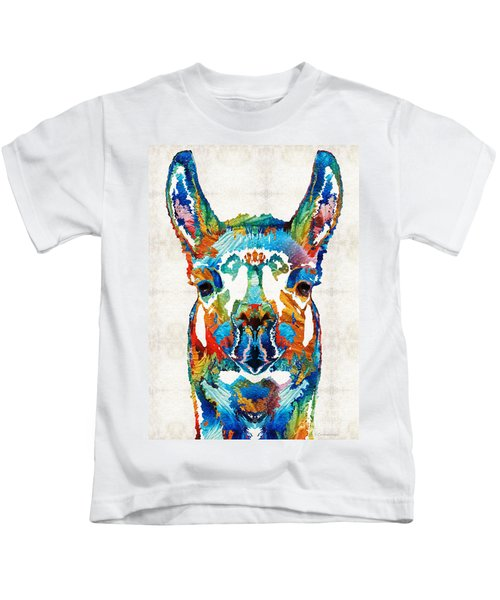 Colorful Llama Art - The Prince - By Sharon Cummings Kids T-Shirt by Sharon Cummings