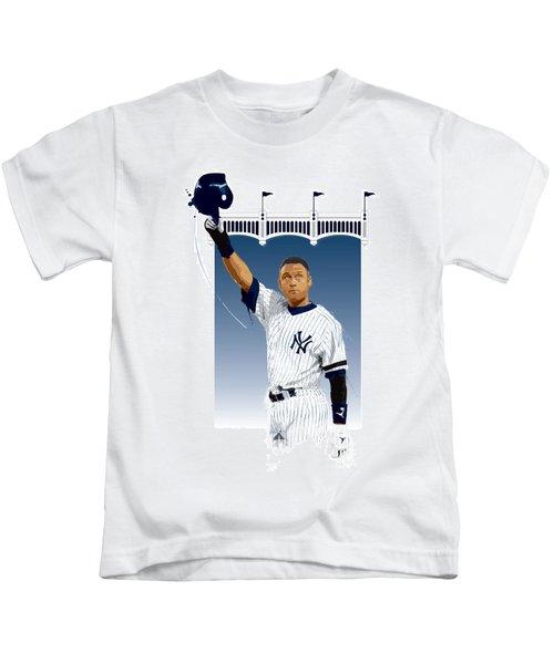 Derek Jeter 3000 Hits Kids T-Shirt by Scott Weigner