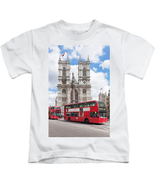 Double-decker Buses Passing Kids T-Shirt by Panoramic Images