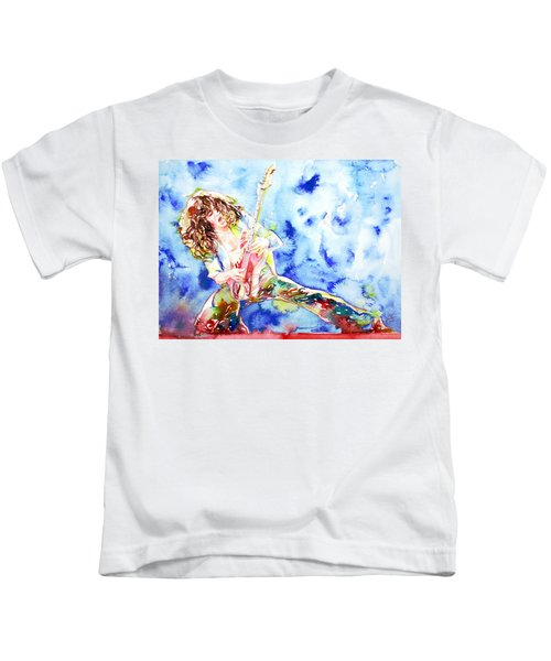Eddie Van Halen Playing The Guitar.1 Watercolor Portrait Kids T-Shirt by Fabrizio Cassetta