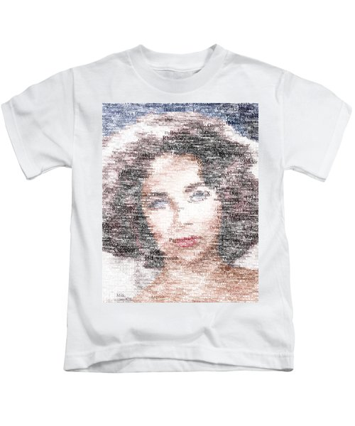 Elizabeth Taylor Typo Kids T-Shirt by Taylan Soyturk