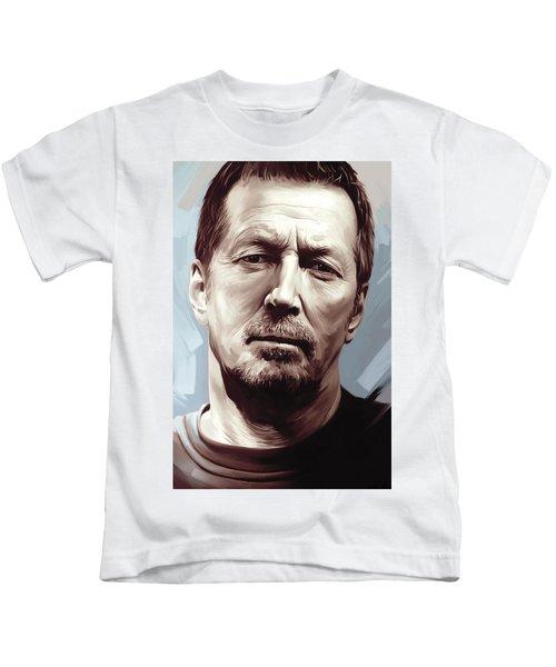 Eric Clapton Artwork Kids T-Shirt by Sheraz A