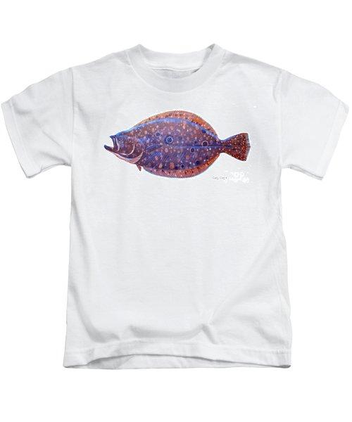 Flounder Kids T-Shirt by Carey Chen