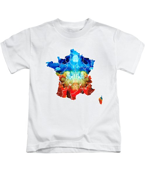 France - European Map By Sharon Cummings Kids T-Shirt by Sharon Cummings