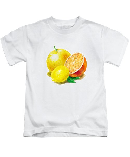 Grapefruit Lemon Orange Kids T-Shirt by Irina Sztukowski
