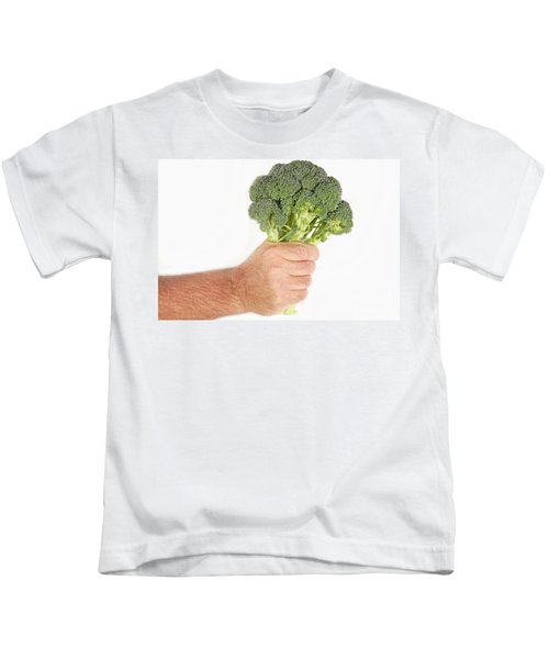 Hand Holding Broccoli Kids T-Shirt by James BO  Insogna