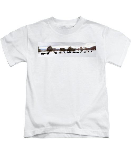 Herd Of Yaks Bos Grunniens On Snow Kids T-Shirt by Panoramic Images