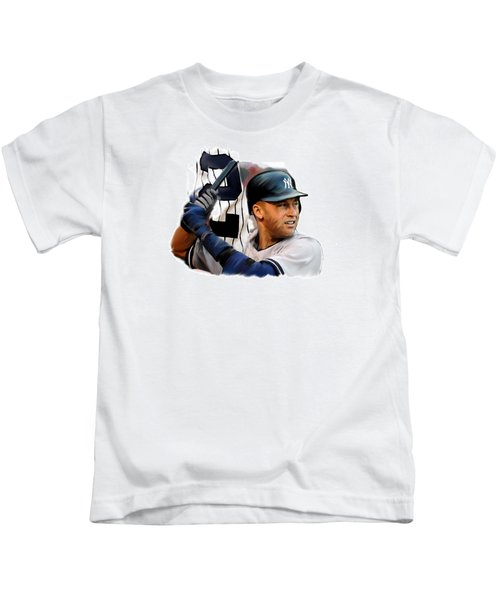 Jeter II  Derek Jeter Kids T-Shirt by Iconic Images Art Gallery David Pucciarelli