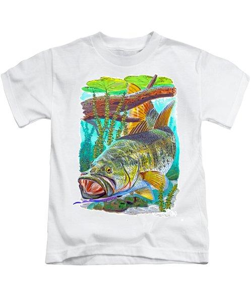 Largemouth Bass Kids T-Shirt by Carey Chen