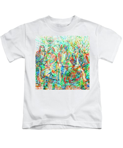 Led Zeppelin - Watercolor Portrait.1 Kids T-Shirt by Fabrizio Cassetta