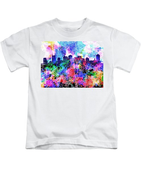 Nashville Skyline Watercolor 5 Kids T-Shirt by Bekim Art