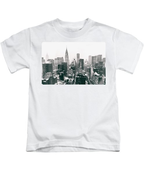 New York City - Snow-covered Skyline Kids T-Shirt by Vivienne Gucwa