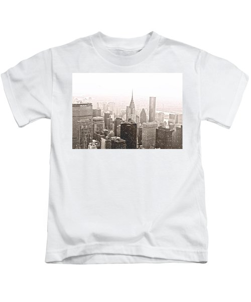 New York Winter - Skyline In The Snow Kids T-Shirt by Vivienne Gucwa