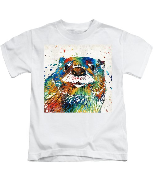 Otter Art - Ottertude - By Sharon Cummings Kids T-Shirt by Sharon Cummings