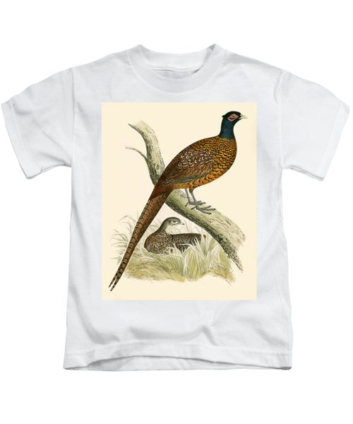 Pheasant Kids T-Shirt by Beverley R Morris