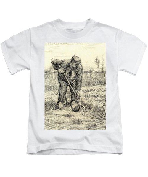 Potato Gatherer Kids T-Shirt by Vincent Van Gogh