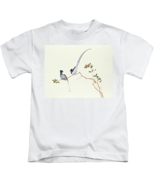 Red Billed Blue Magpies On A Branch With Red Berries Kids T-Shirt by Chinese School