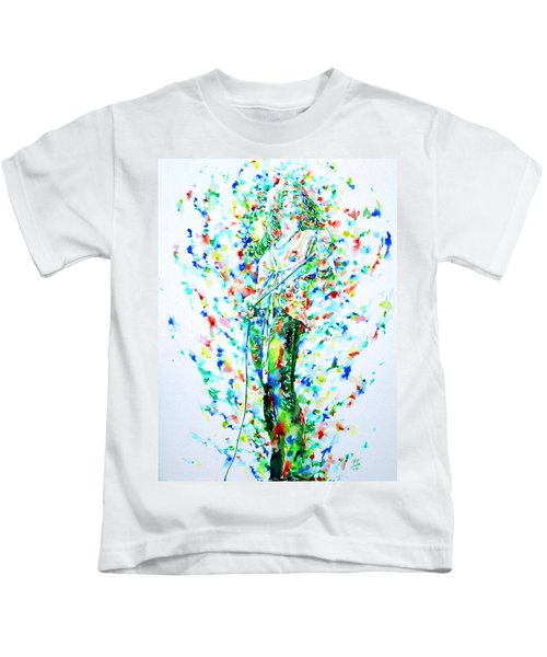 Robert Plant Singing - Watercolor Portrait Kids T-Shirt by Fabrizio Cassetta