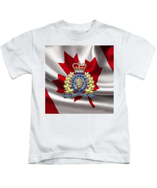 Royal Canadian Mounted Police - Rcmp Badge Over Waving Flag Kids T-Shirt by Serge Averbukh